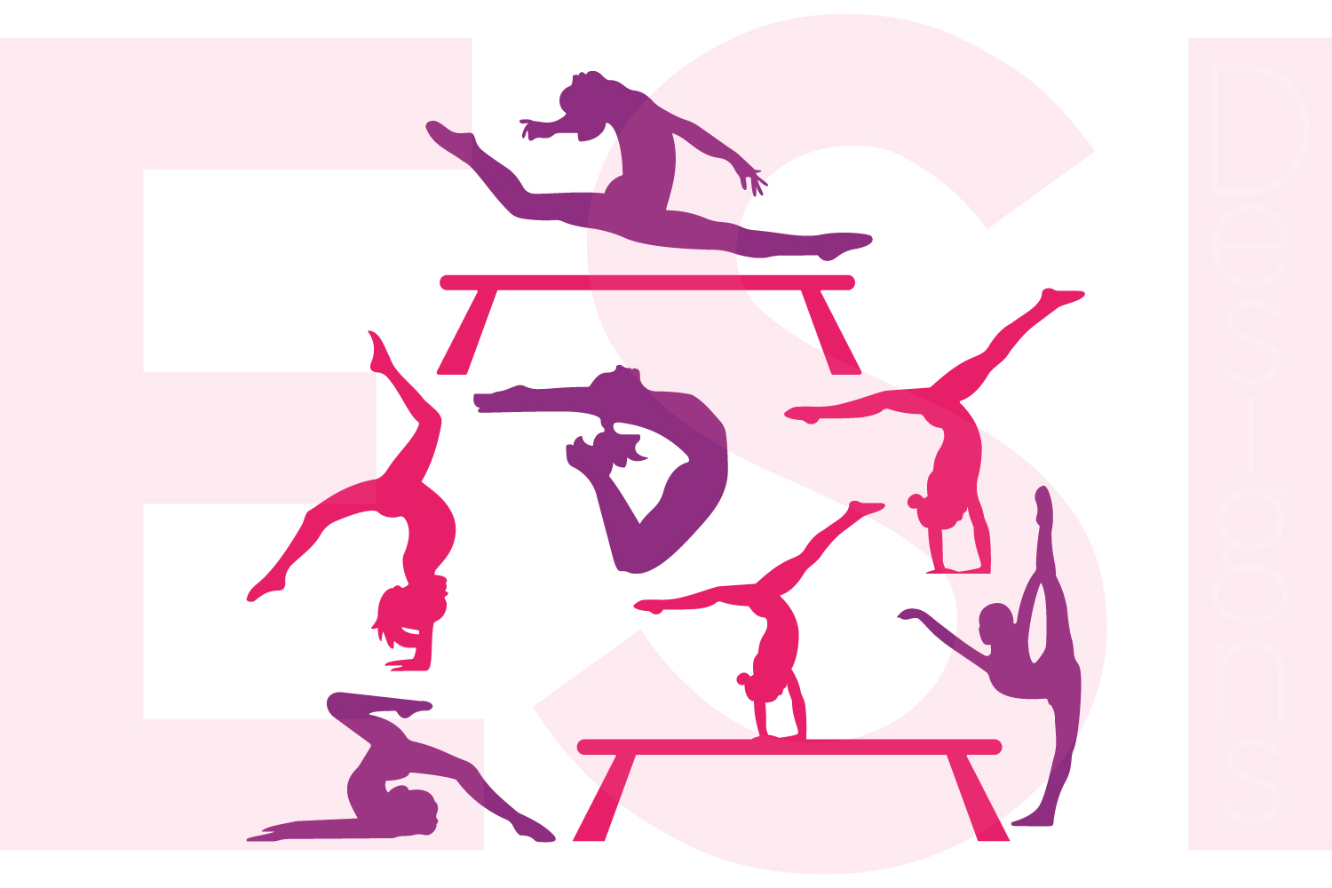 Gymnast Silhouette Designs Set By Esi D Design Bundles