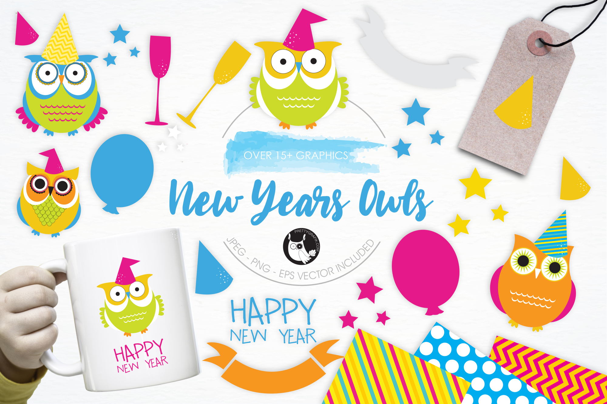 New Year Owls graphics and illustration | Design Bundles