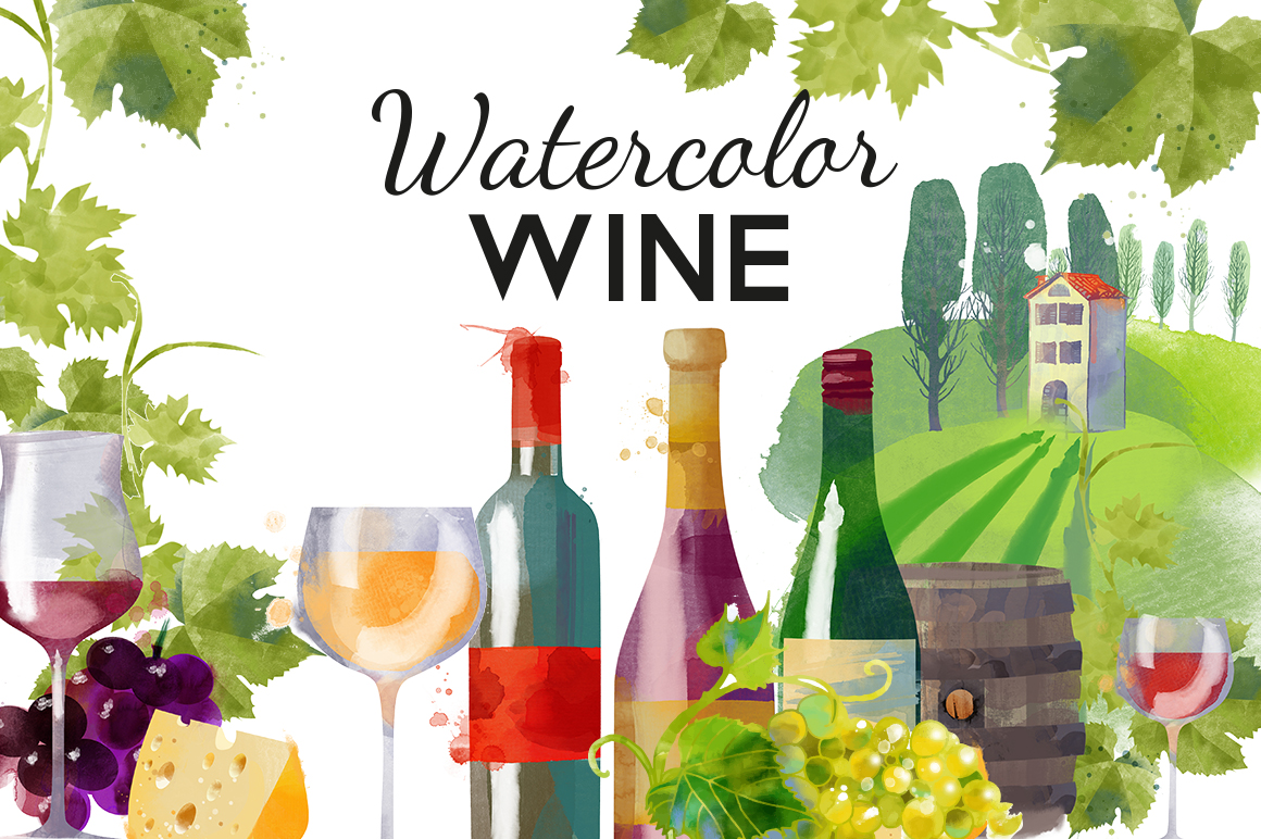 Watercolor Wine By Tatiana Davidova Art Design Bundles