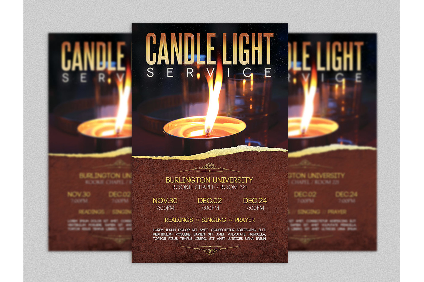 candle light service flyer template by design bundles candle light service flyer template