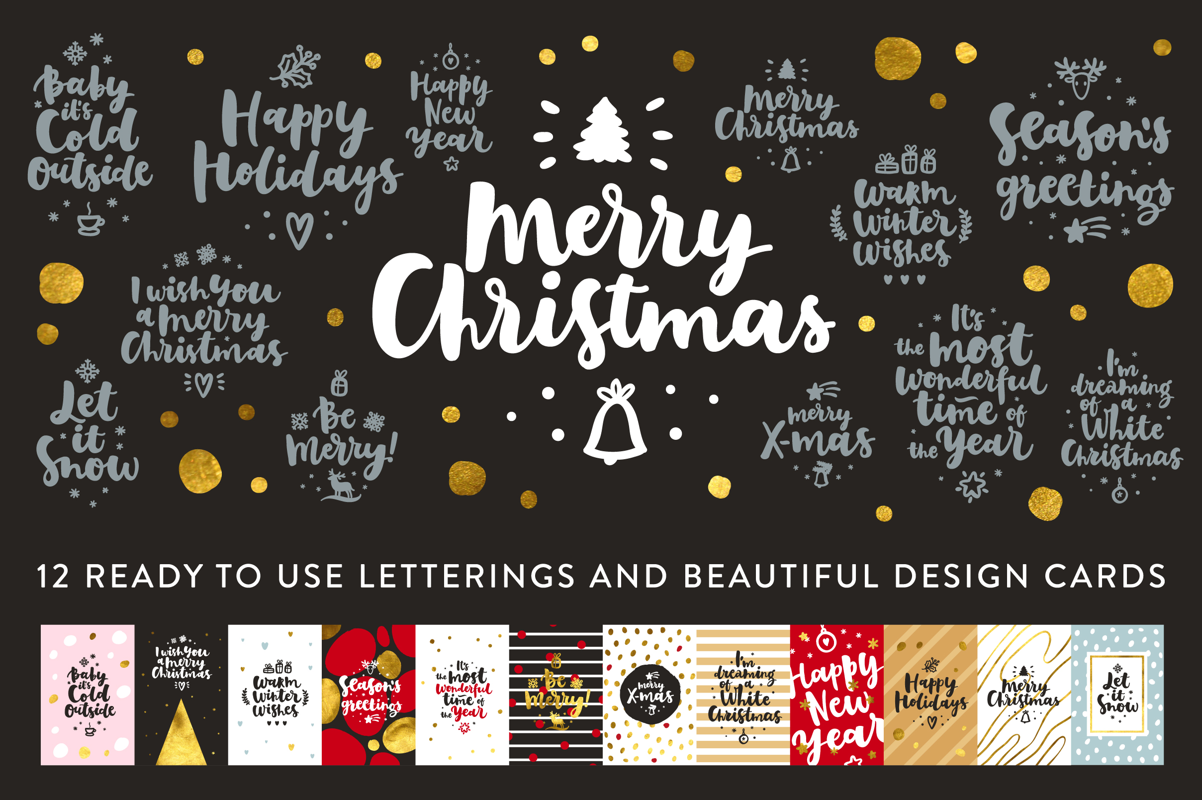 Merry Christmas Vector Set by Zira Zulu | Design Bundles