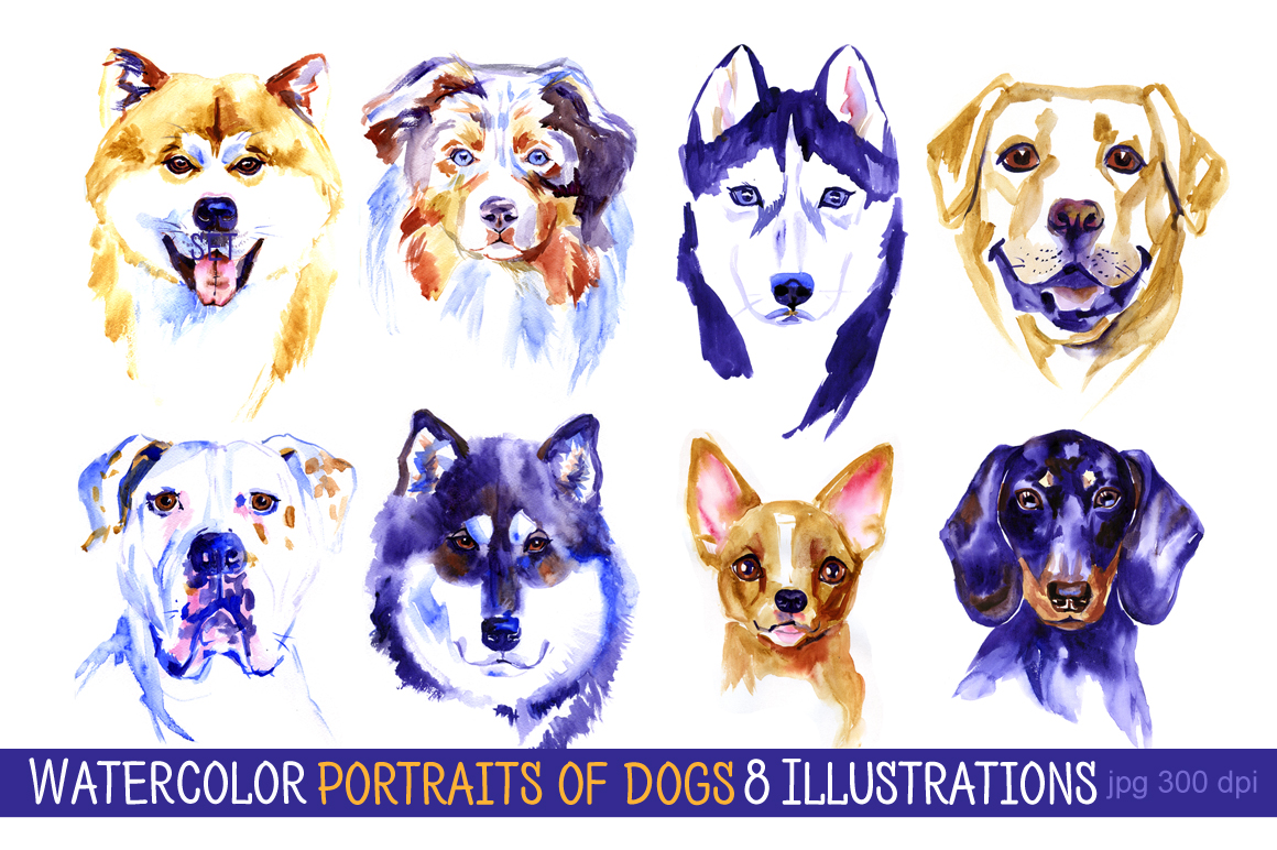 Watercolor dogs set by Natali Myasnikova | Design Bundles