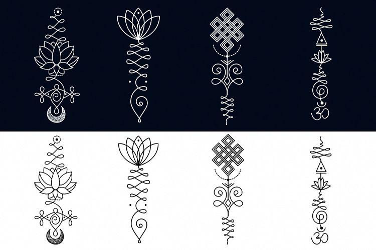 11 Unalome & lotus Sacred symbols by Al | Design Bundles