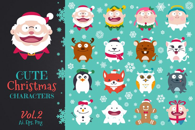 cute flat christmas characters vol 2 by